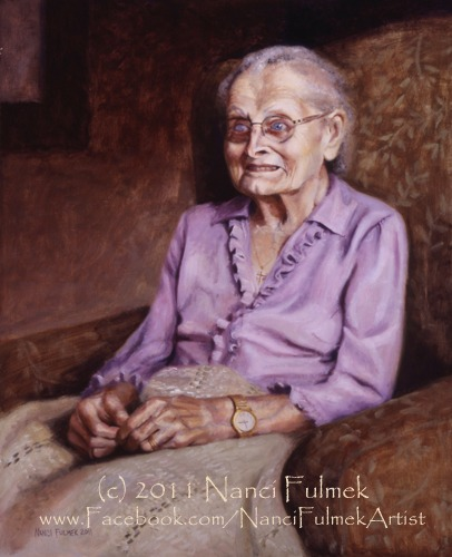 Grandma Agnes portrait at 100 years web